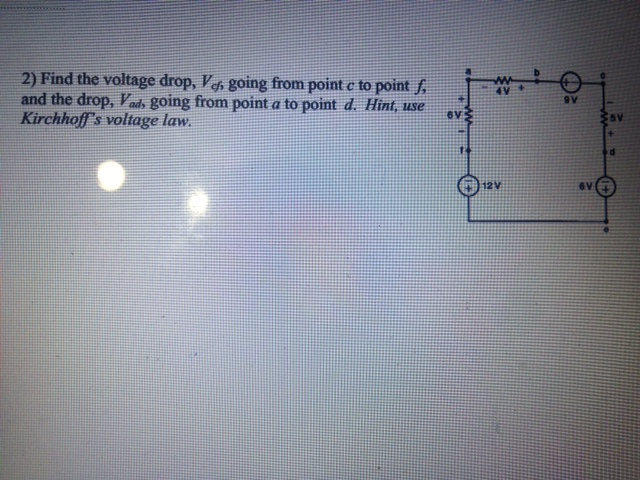 Find the voltage drop, V Phi, going from point c