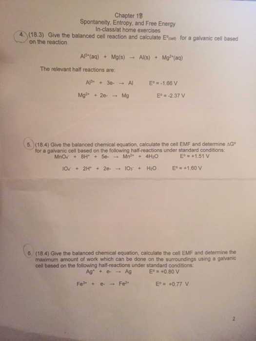 Great Chapter 18 Spontaneity, Entropy, And Free Energy In Class/at Home Exercises