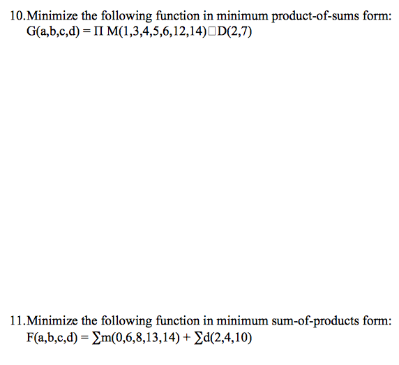 Minimize the following function in minimum product