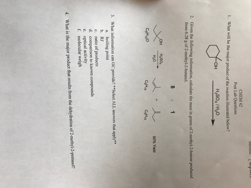 Line Optical Questions : Solved section chem post lab questions what will be