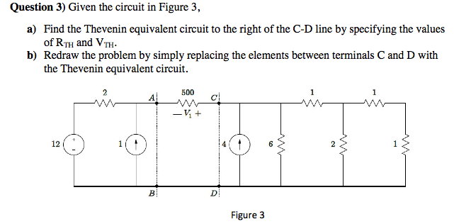 Given the circuit in Figure 3, Find the Thevenin