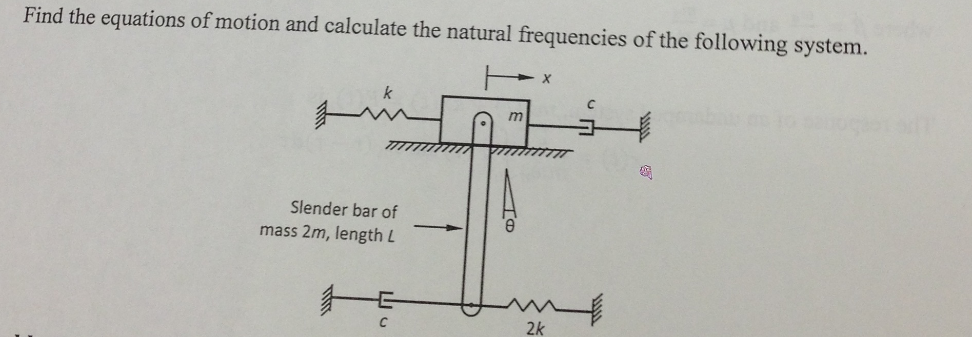 Find the equations of motion and calculate the nat