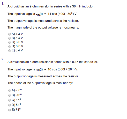 A circuit has an 9 ohm resistor in series with a 3