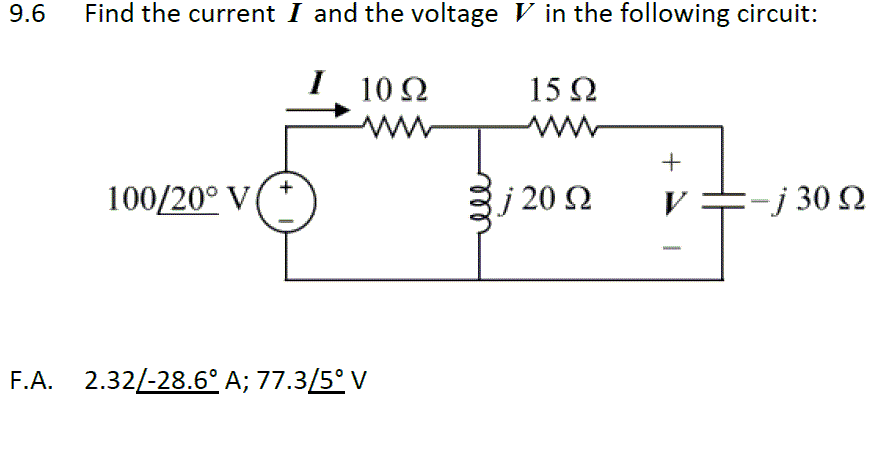 Find the current I and the voltage V in the follow