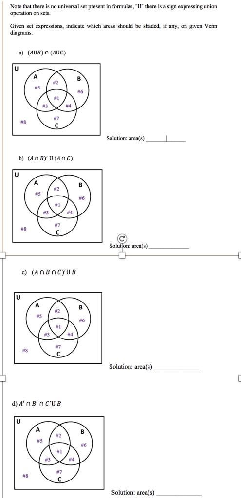 Union Of Sets Using Venn Diagram Shading Venn Diagram Regions