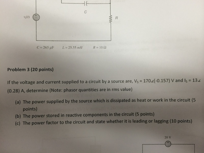 If the voltage and current supplied to a circuit b