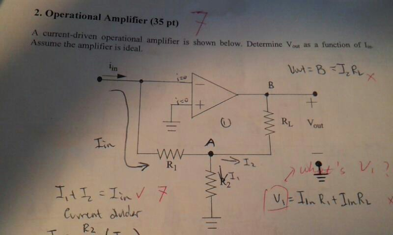 An operational amplifier is shown below. Given R =
