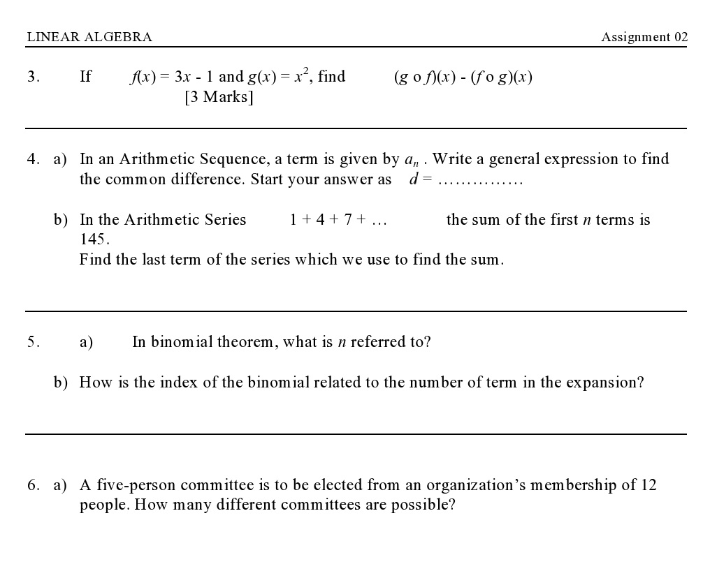 linear algebra assignment Linear algebra is at the heart of many diverse applications of mathematics   notes: some applications using linear algebra  homework assignments.