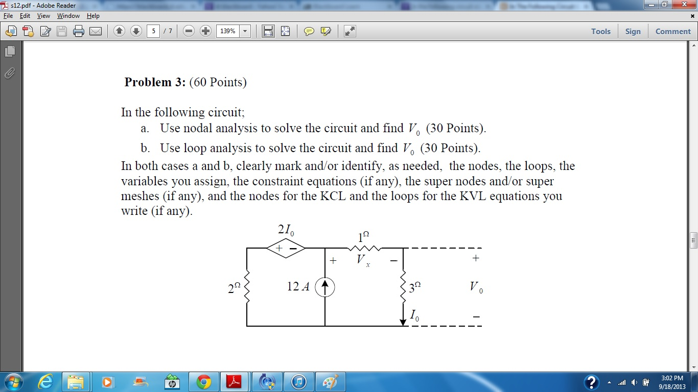 In the following circuit; Use nodal analysis to s