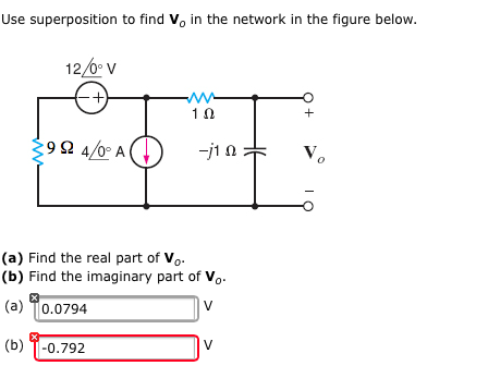 Use superposition to find Vo in the network in the
