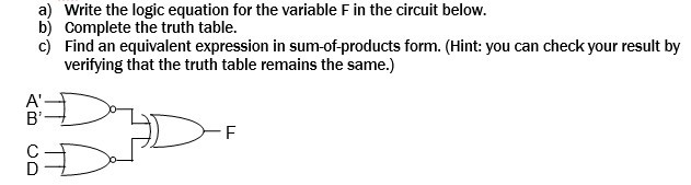Write the logic equation for the variable F in the