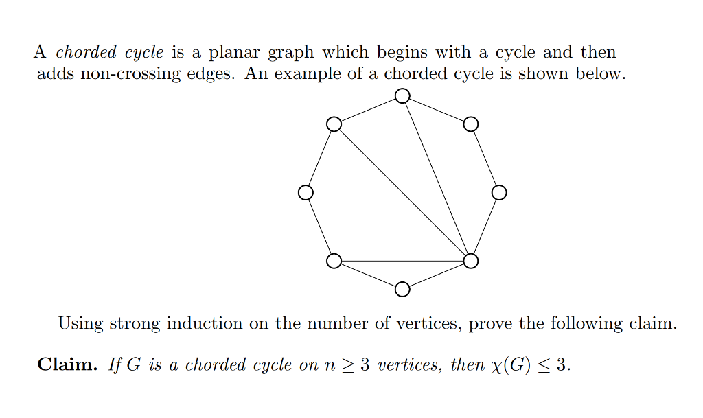 Solved: A Chorded Cycle Is A Planar Graph Which Begins Wit ...
