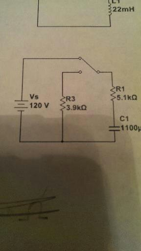 The switch in the circuit to the right has been in