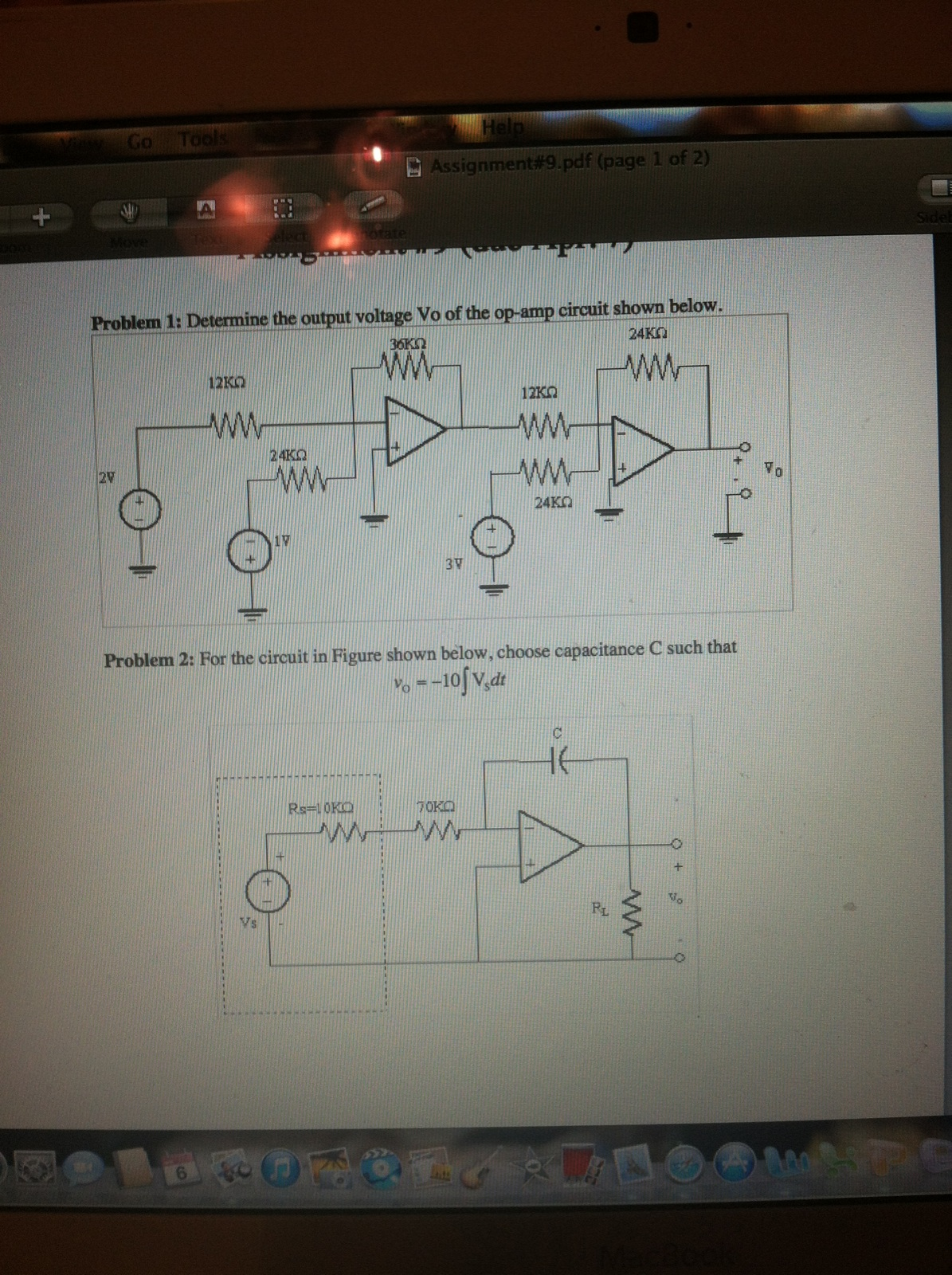 Determine the output voltage Vo of the op-amp circ