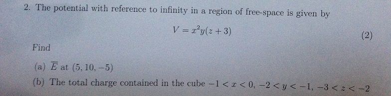 The potential with reference to infinity in a regi