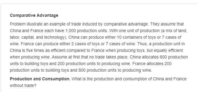 Solved: Comparative Advantage Problem Illustrate An Exampl ...