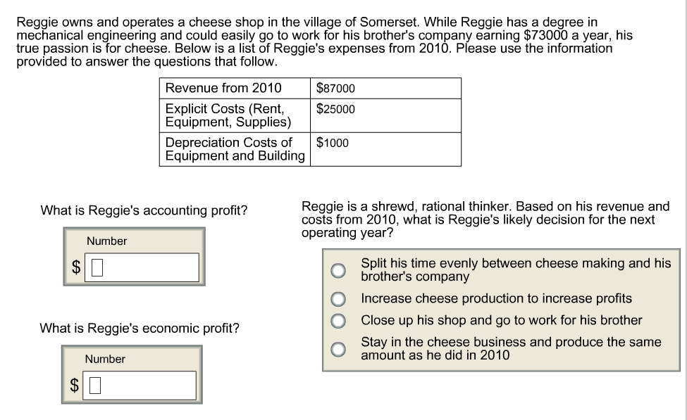 Question: Reggie owns and operates a cheese shop in the village of Somerset. While Reggie has a degree in m...