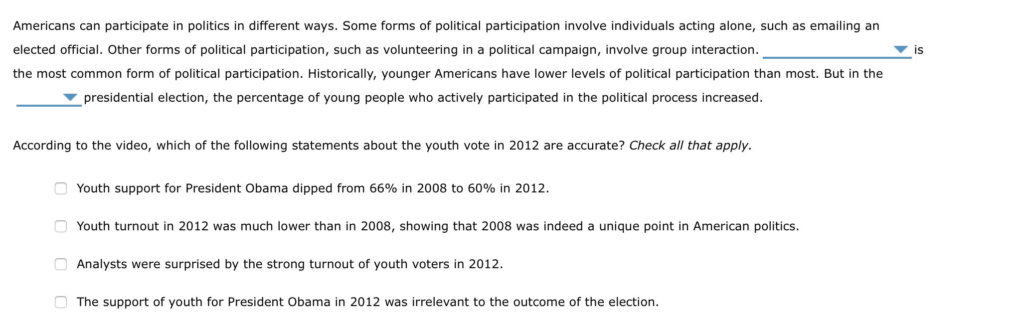 Americans Can Participate  n Politics In Differe...   Chegg.com