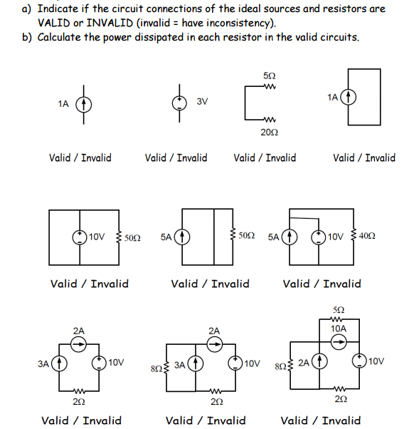 Solved: Indicate If The Circuit Connections Of The Ideal S ...