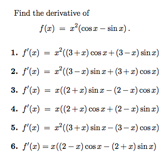 Find The Derivative Of F (x) = X^2(cos X - Sin X) ... | Chegg.com
