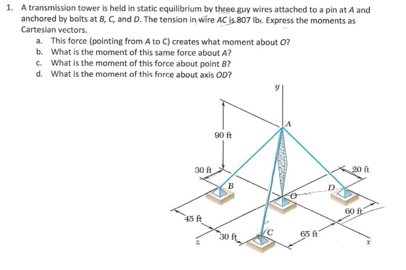 solved 1 a transmission tower is held in static equilibr