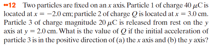 Two particles are fixed on an x axis. Particle 1 o