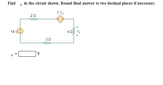 Find x in the circuit shown. Round final answer to