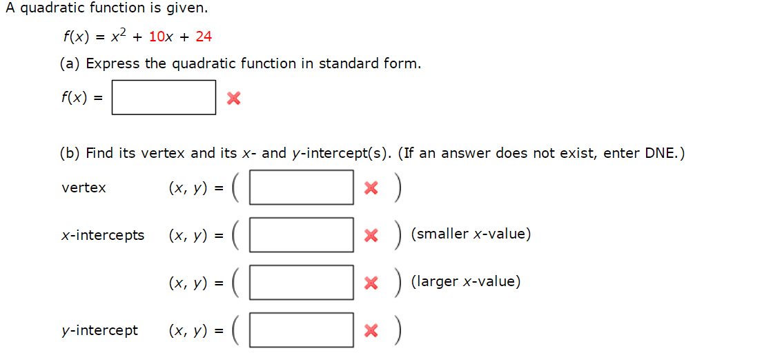 A Quadratic Function Is Given. F(x) = X2 + 10x + 2... | Chegg.com