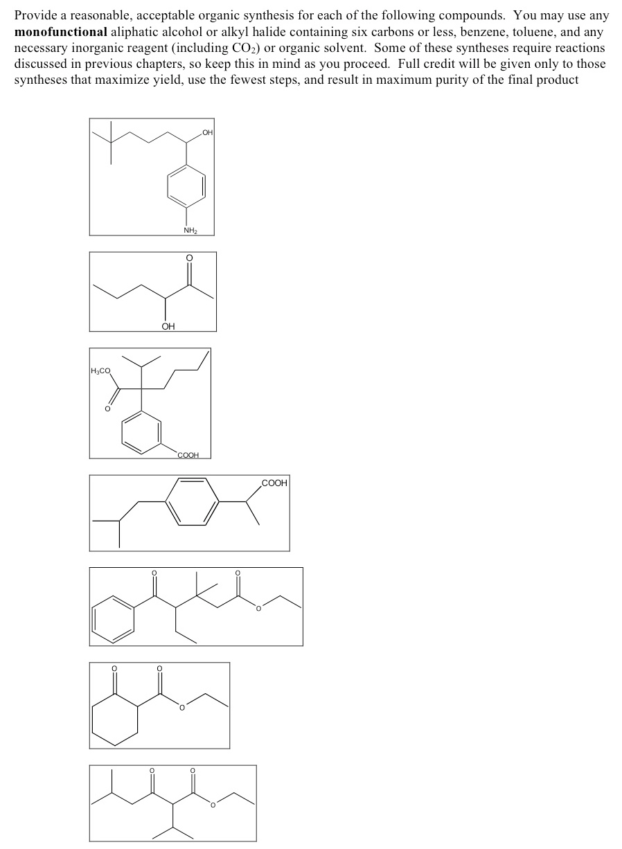 Provide a reasonable, acceptable organic synthesis