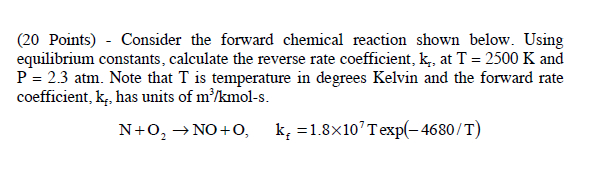 Consider the forward chemical reaction shown below