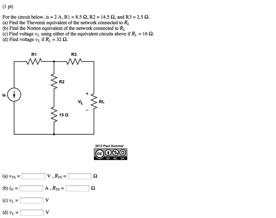 For the circuit below, is = 2 A, R1 = 8.5 ohm, R2
