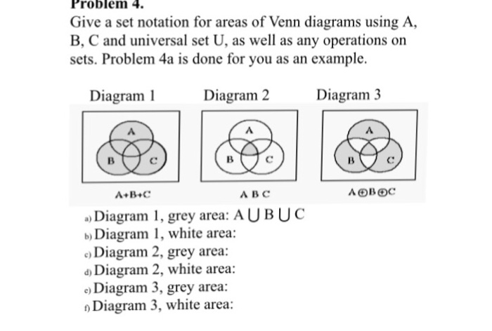 solved  give a set notation for areas of venn diagrams usi