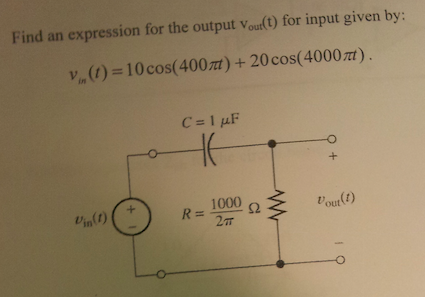 Find an expression for the output v out(t) for inp
