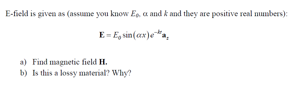 E-field is given as (assume you know E0, a and k a