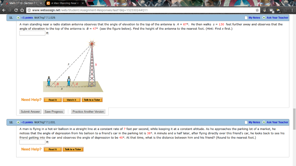 Math Section C A Man Standing Nea A X Wwww Cheggcom - How to find my elevation