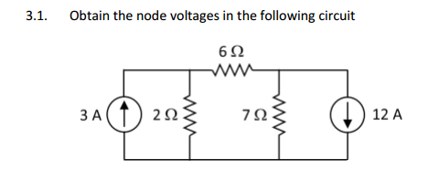 Obtain the node voltages in the following circuit