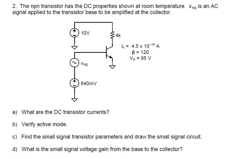 The npn transistor has the DC properties shown at