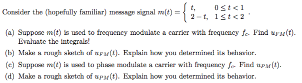 Consider the (hopefully familiar) message signal m