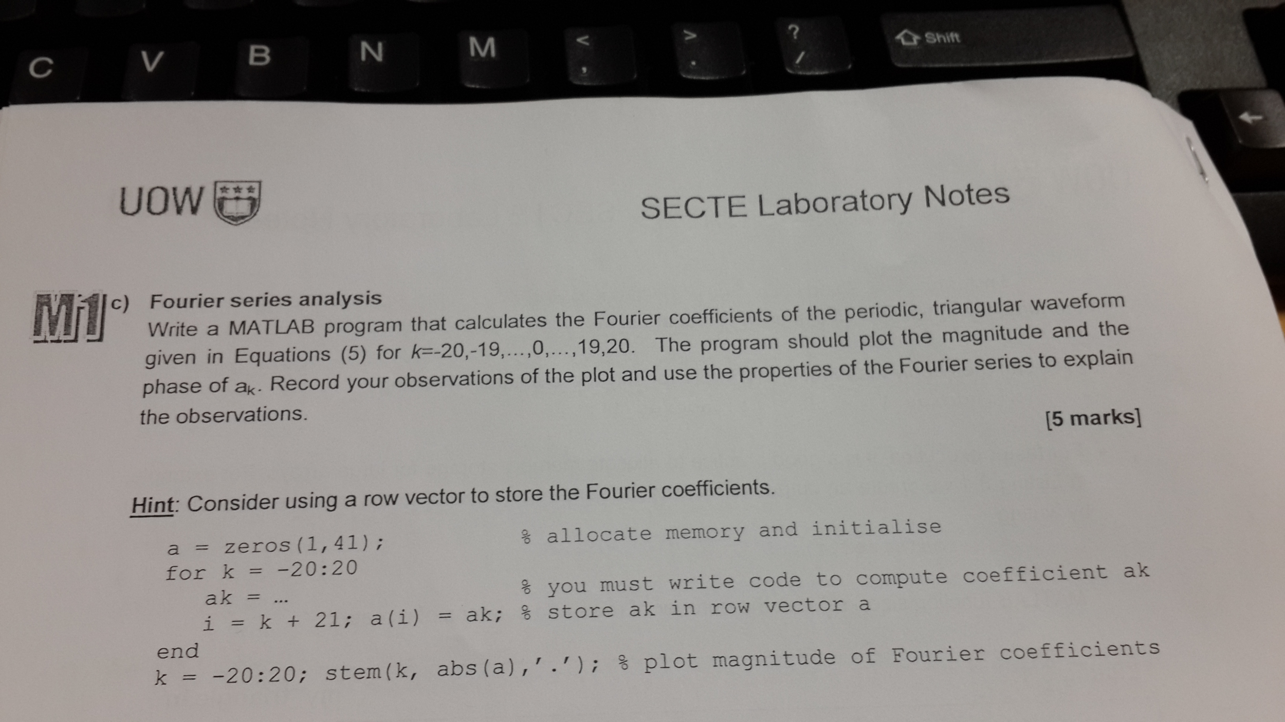 SECTE Laboratory Notes Fourier series analysis W