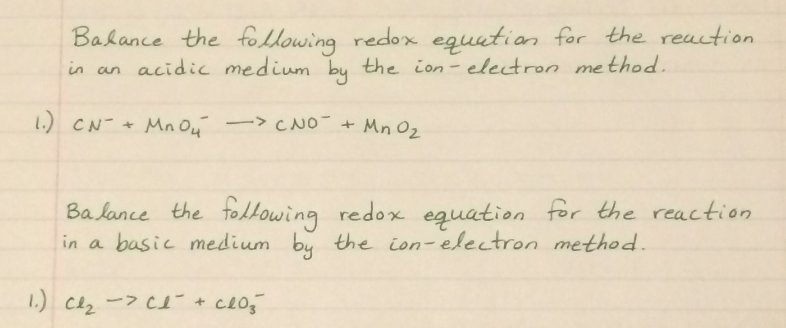 balance the following redox equation for the react com chemistry help can i get a very detailed solution