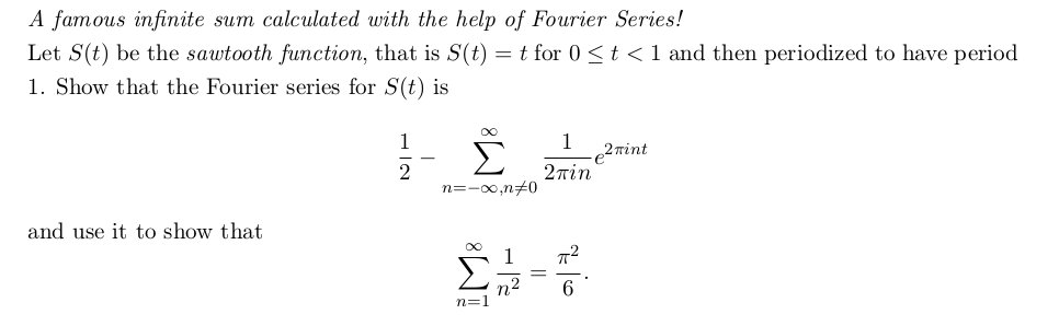 A famous infinite sum calculated with the help of
