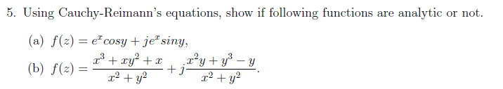 Using Cauchy-Reimann's equations, show if followin