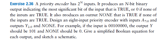Exercise 2.36 A priority encoder has 2N inputs. It