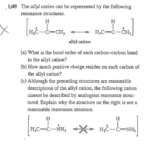 The allyl cation can be represented by the followi