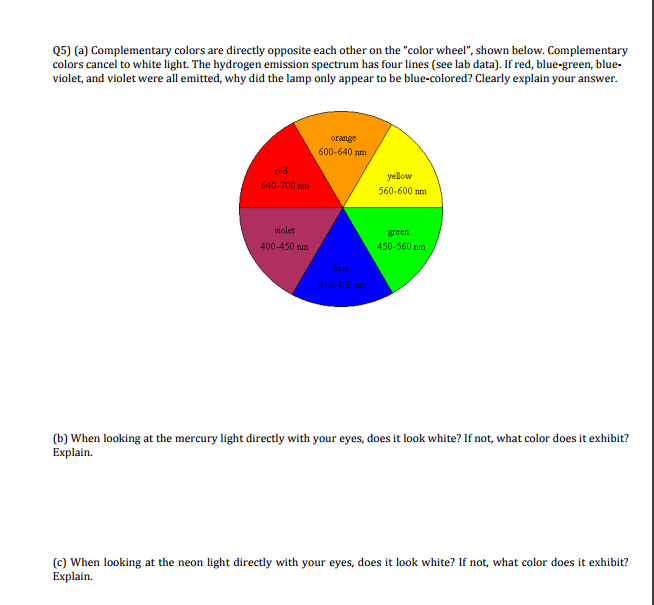 Colors Directly Opposite Color Wheel a) complementary colors are directly opposite eac | chegg