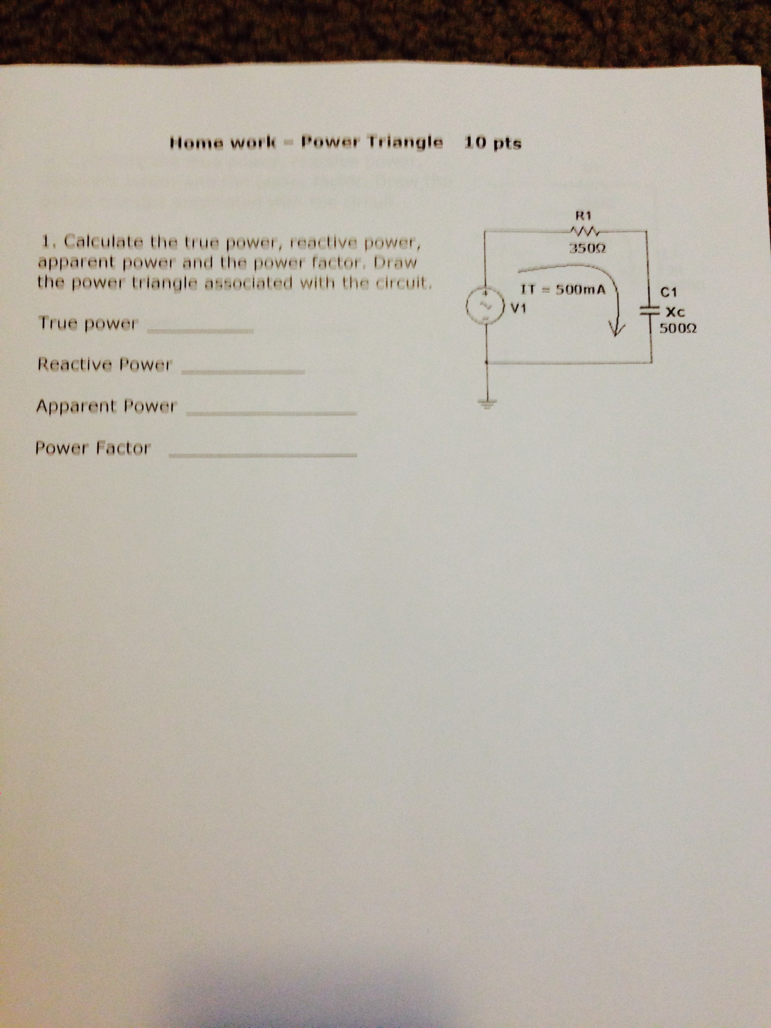 Calculate the true power, reactive power, apparent