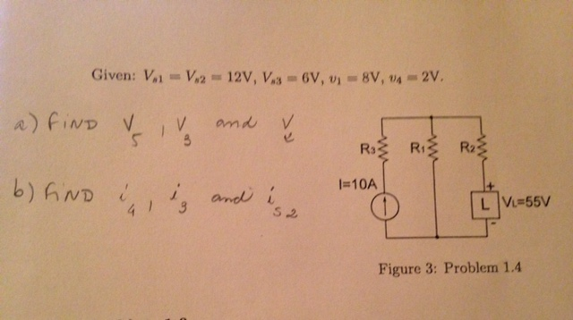 Given: Vs1 = Vs2 = 12V, Vs3 = 6V, upsilon1 = 8V, u