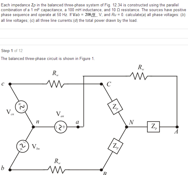 Each impedance Zp in the balanced three-phase syst