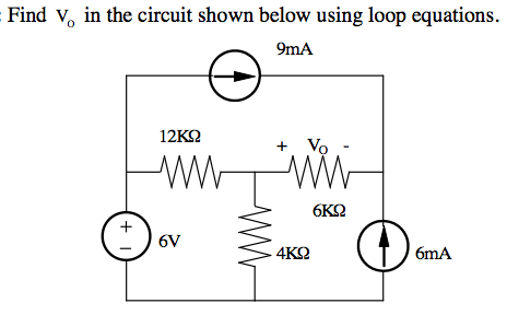 Find V0 in the circuit shown below using loop equa