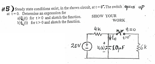 Steady state conditions exist, in the shown circui